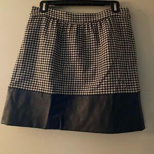 Jcrew Houndstooth Pleated Skirt w Leather Sz 8